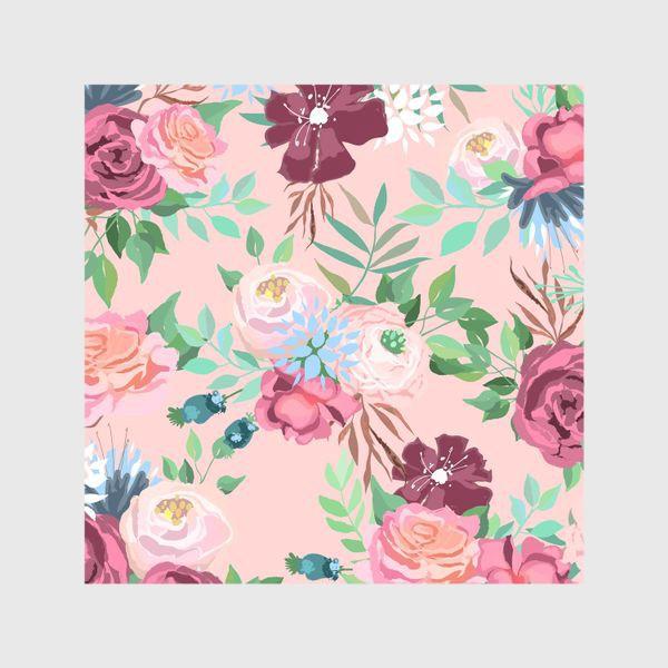 Шторы «Цветочный принт на розовом фоне»