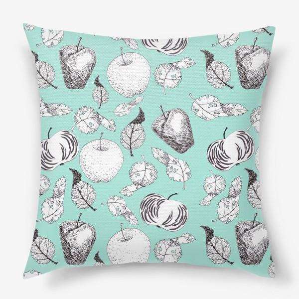 Подушка «Яблоки и листья»