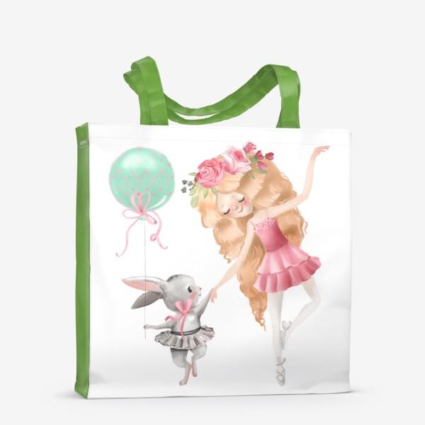 Сумка-шоппер «Балерина с милым зайцем»