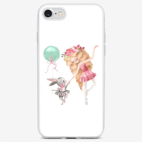 Чехол iPhone «Балерина с милым зайцем»