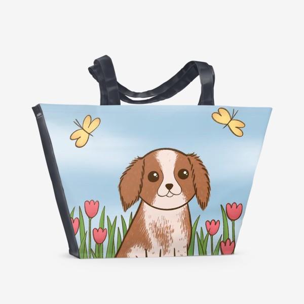 Пляжная сумка «Весенний Кинг Чарльз Спаниель»