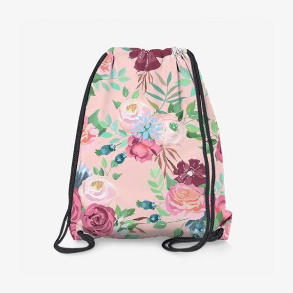 Рюкзак «Цветочный принт на розовом фоне»