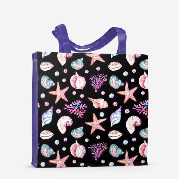 Сумка-шоппер «Безшовный акварельный  темный паттерн с морской темой, кораллами и жемчужинами»