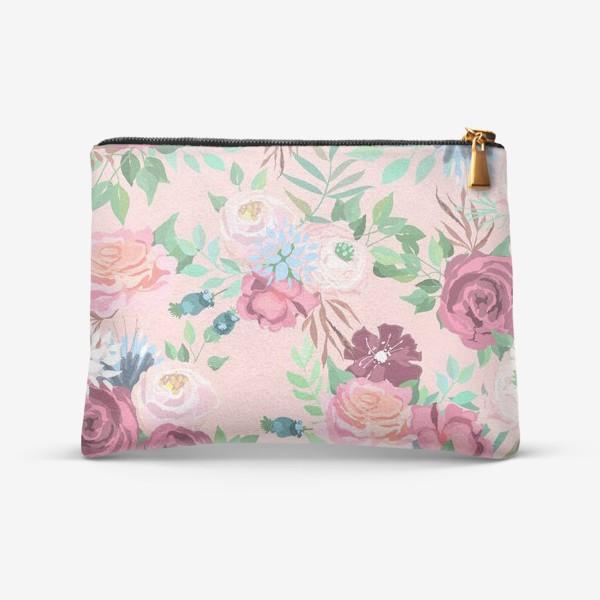 Косметичка «Цветочный принт на розовом фоне»