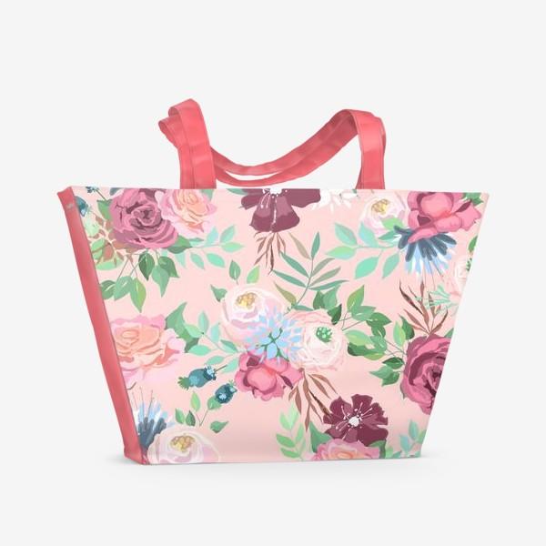 Пляжная сумка «Цветочный принт на розовом фоне»