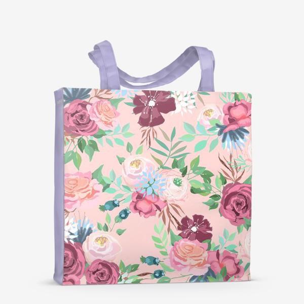 Сумка-шоппер «Цветочный принт на розовом фоне»