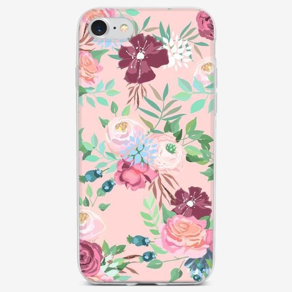Чехол iPhone «Цветочный принт на розовом фоне»