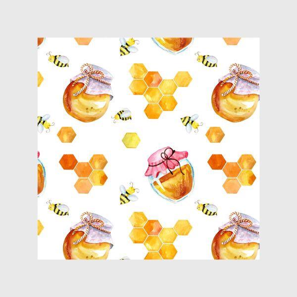 Шторы «Безшовный акварельный паттерн с сотамиб медом и пчелами»