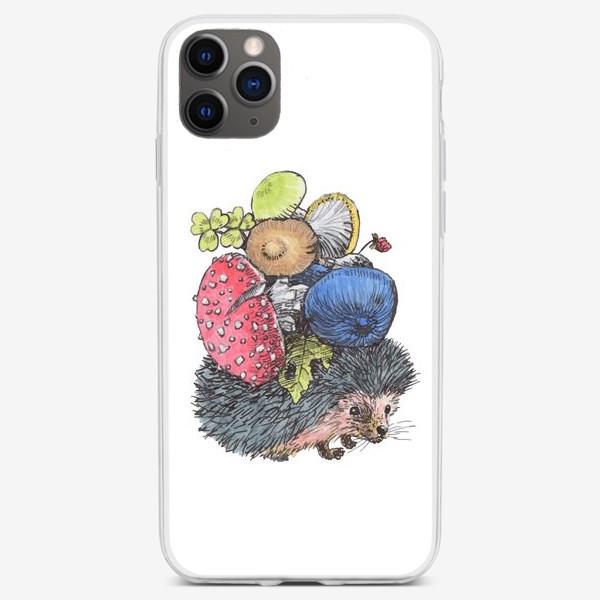 Чехол iPhone «Ежик запасает грибы»