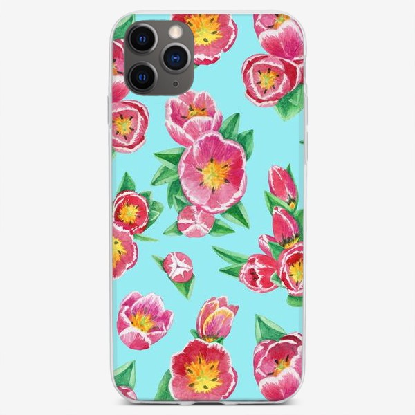 Чехол iPhone «Тюльпаны на небесно-голубом»