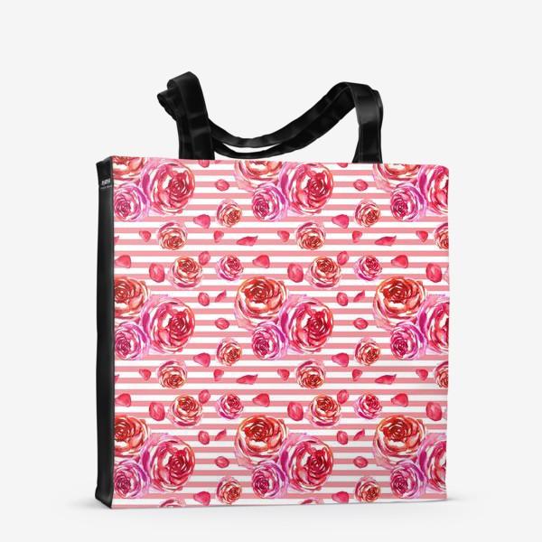 Сумка-шоппер «Безшовный акварельный паттерн с нежными розами и лепестками»