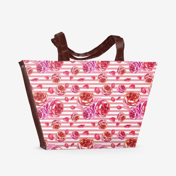 Пляжная сумка «Безшовный акварельный паттерн с нежными розами и лепестками»