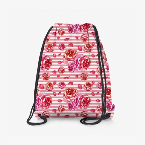 Рюкзак «Безшовный акварельный паттерн с нежными розами и лепестками»