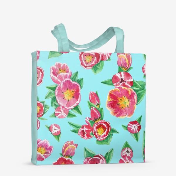 Сумка-шоппер «Тюльпаны на небесно-голубом»