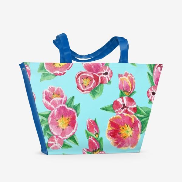 Пляжная сумка «Тюльпаны на небесно-голубом»
