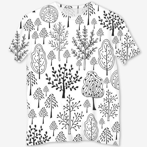 Футболка с полной запечаткой «Деревья сказочного леса»