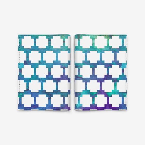 Обложка для паспорта «узор крестиком на акварельном фоне»