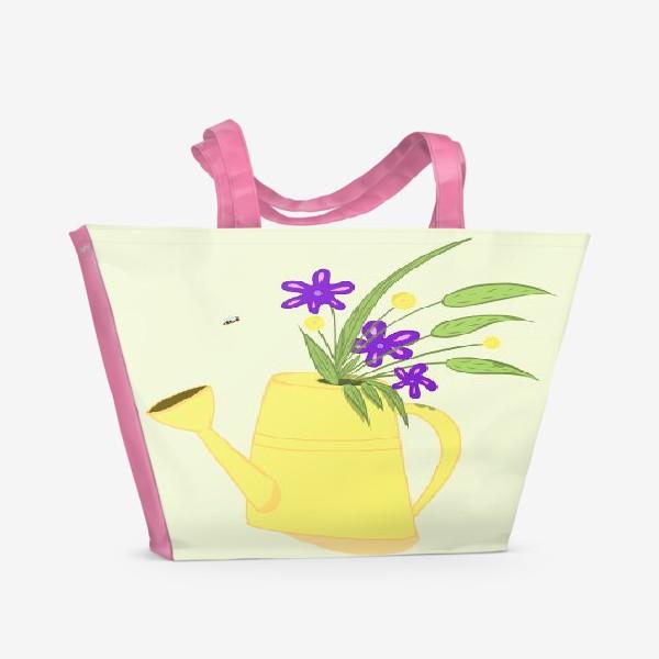 Пляжная сумка «Лейка с цветами. Подарок бабушке. Подарок дачнице, садоводу»