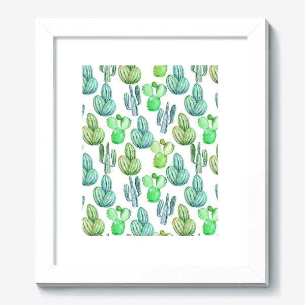 Картина «Безшовный акварельный паттерн с кактусами и цветами»