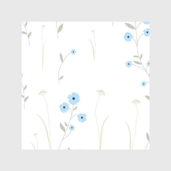 Скатерть «Нежный цветочный патерн. Голубой лен и травы.»