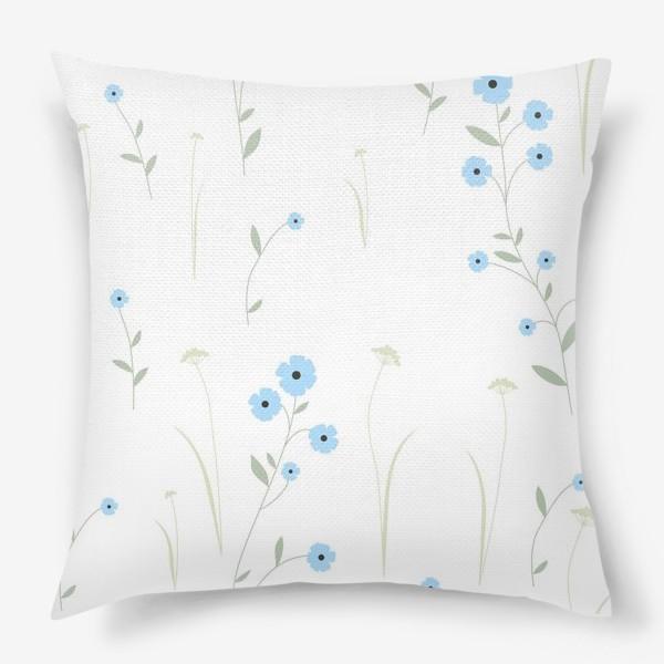 Подушка «Нежный цветочный патерн. Голубой лен и травы.»