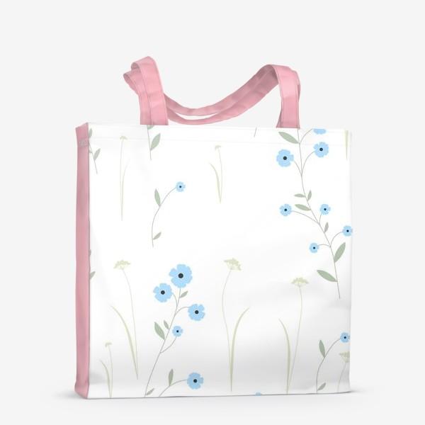 Сумка-шоппер «Нежный цветочный патерн. Голубой лен и травы.»