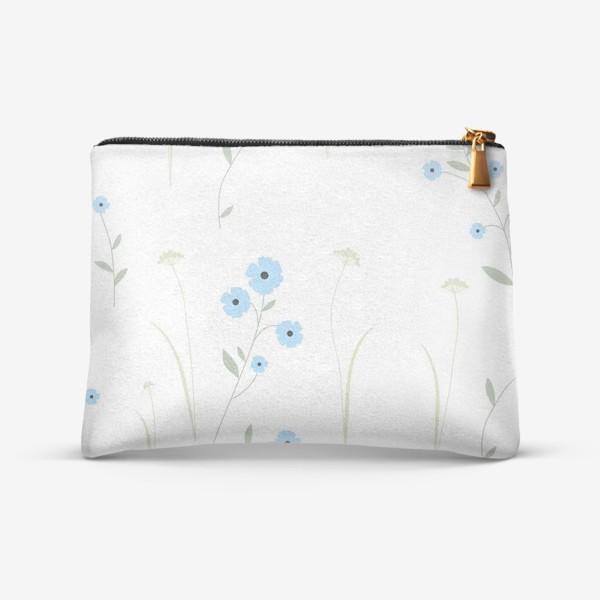 Косметичка «Нежный цветочный патерн. Голубой лен и травы.»