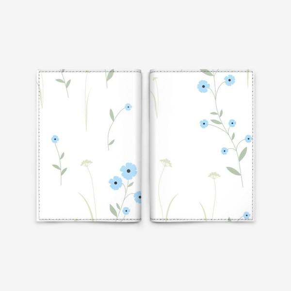 Обложка для паспорта «Нежный цветочный патерн. Голубой лен и травы.»