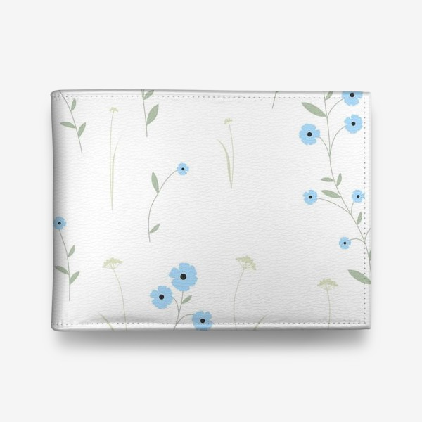Кошелек «Нежный цветочный патерн. Голубой лен и травы.»