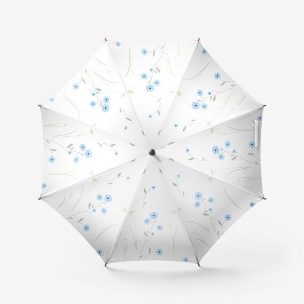 Зонт «Нежный цветочный патерн. Голубой лен и травы.»