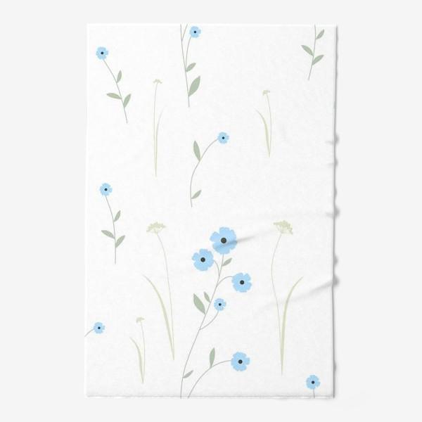 Полотенце «Нежный цветочный патерн. Голубой лен и травы.»
