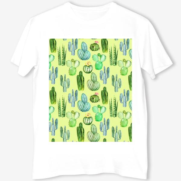 Футболка «Безшовный акварельный паттерн с кактусами и цветами»