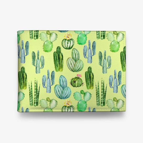 Кошелек «Безшовный акварельный паттерн с кактусами и цветами»