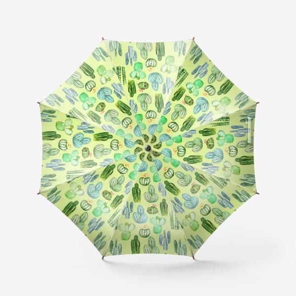 Зонт «Безшовный акварельный паттерн с кактусами и цветами»