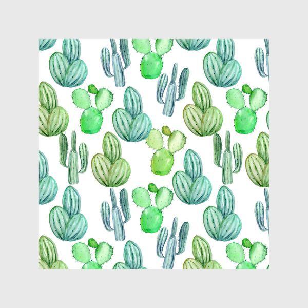 Шторы «Безшовный акварельный паттерн с кактусами и цветами»