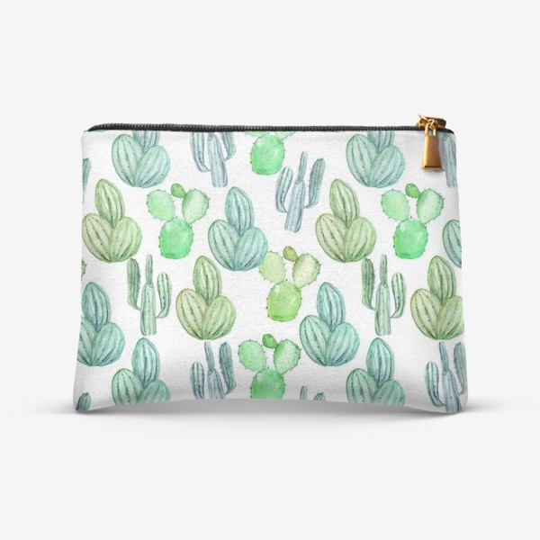Косметичка «Безшовный акварельный паттерн с кактусами и цветами»