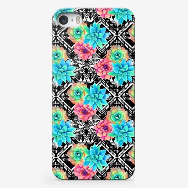 Чехол iPhone «Паттерн с акварельными суккулентами и индейским узором»