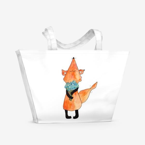 Пляжная сумка «Лис с букетом»