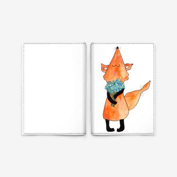 Обложка для паспорта «Лис с букетом»