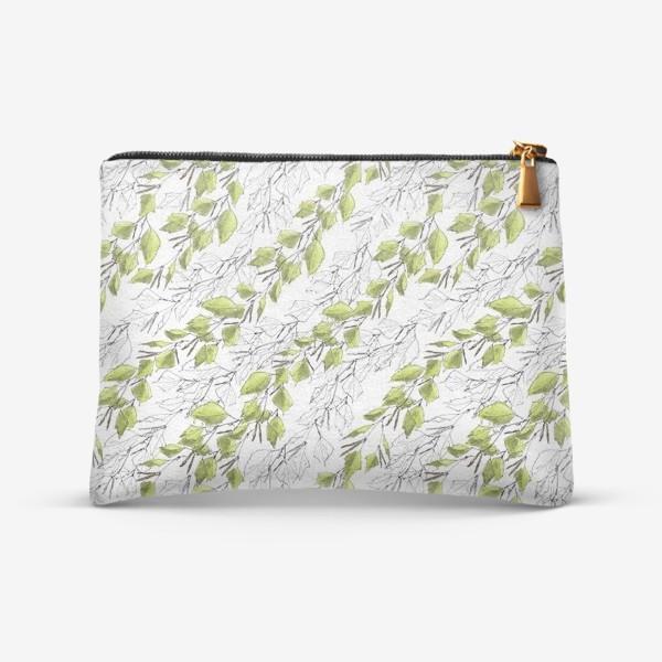 Косметичка «Весенний паттерн с березовыми листьями»