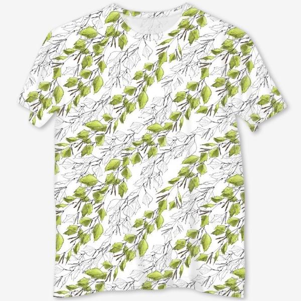 Футболка с полной запечаткой «Весенний паттерн с березовыми листьями»