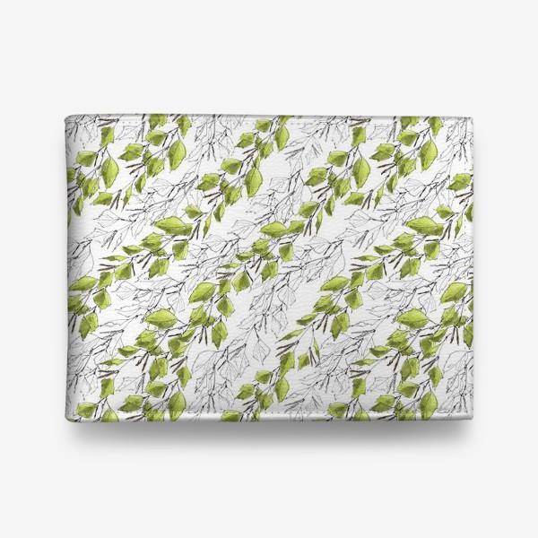Кошелек «Весенний паттерн с березовыми листьями»