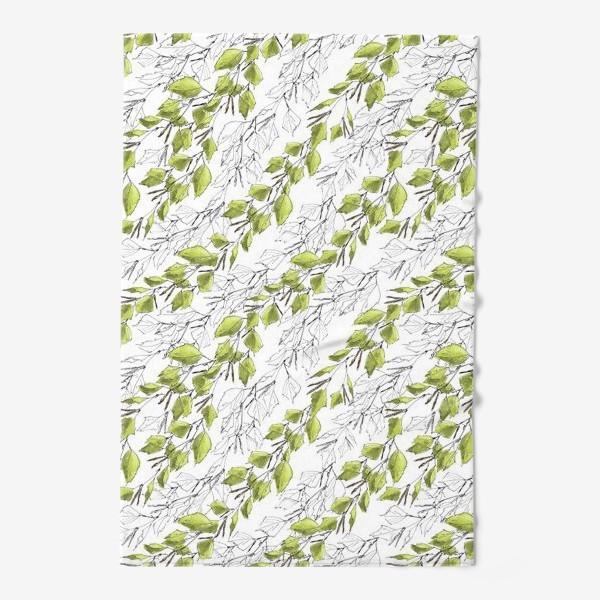 Полотенце «Весенний паттерн с березовыми листьями»