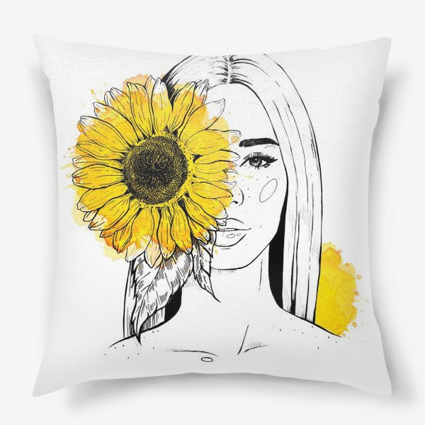 Подушка «Девушка с подсолнухом»