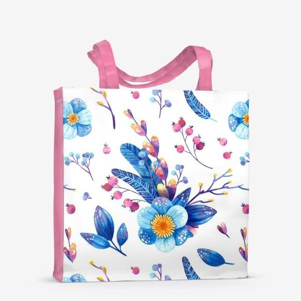 Сумка-шоппер «Синие цветы и розовые ягоды на белом фоне. Акварельный паттерн»