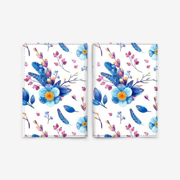 Обложка для паспорта «Синие цветы и розовые ягоды на белом фоне. Акварельный паттерн»