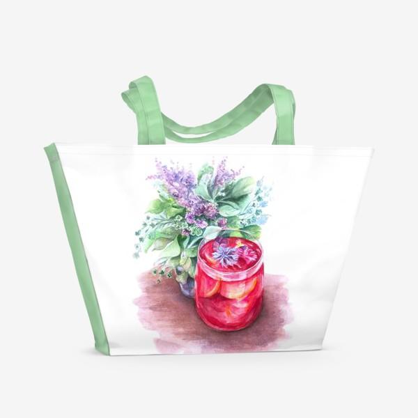 Пляжная сумка «Летний чай. Акварель»