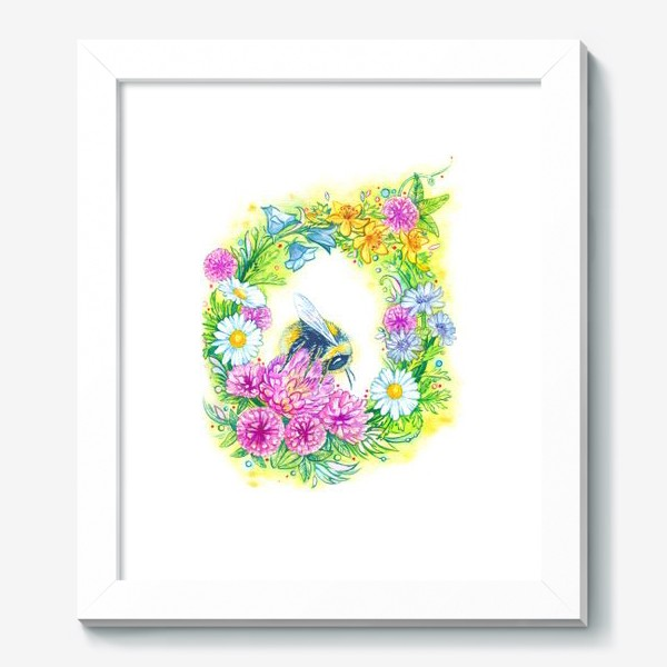 Картина «Клевер, ромашка, колокольчик, зверобой, цикорий и шмель»