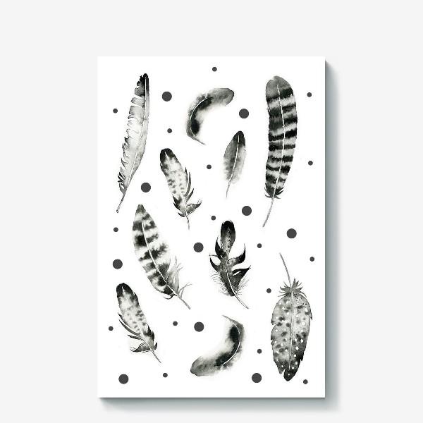 Холст «Черно-белые перья»