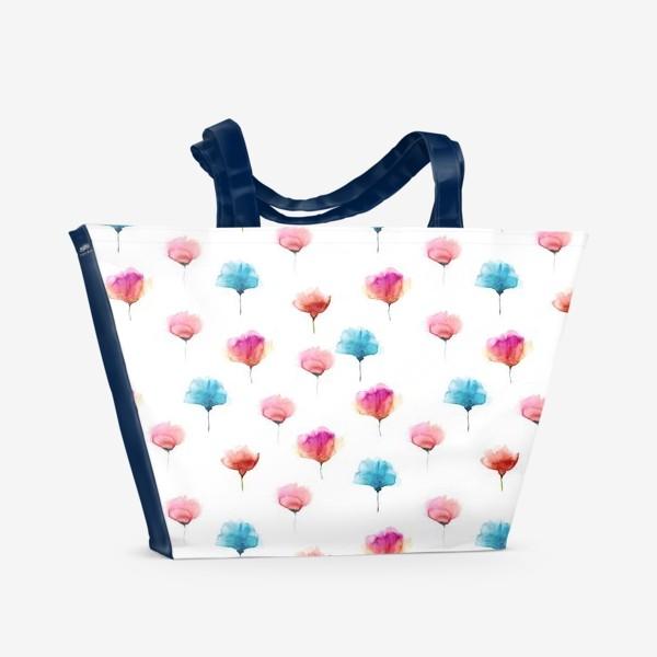 Пляжная сумка «Акварельный паттерн с абстрактными цветами»